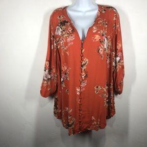 Torrid orange floral blouse size 3X